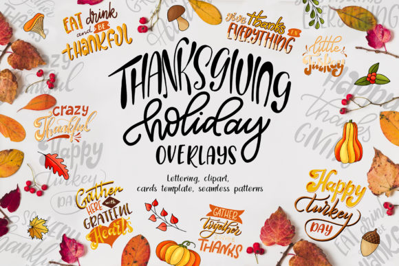 Thanksgiving Holiday Overlay+clipart Graphic By tregubova.jul