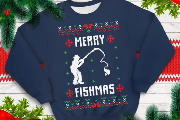 Print on Demand: Merry Fishmas Graphic Print Templates By svgsupply