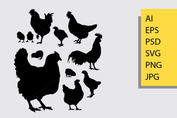 Chicken Silhouette Graphic Illustrations By Cove703