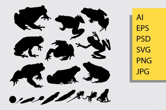 Frog Silhouette Graphic Illustrations By Cove703