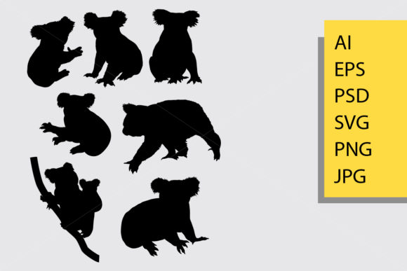 Koala Silhouette Graphic Illustrations By Cove703 - Image 1