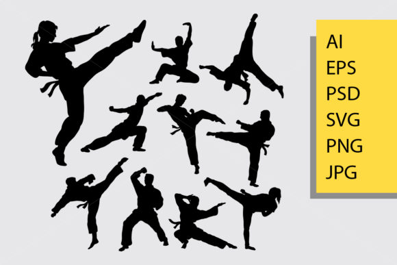 Martial Art Silhouette Graphic Illustrations By Cove703
