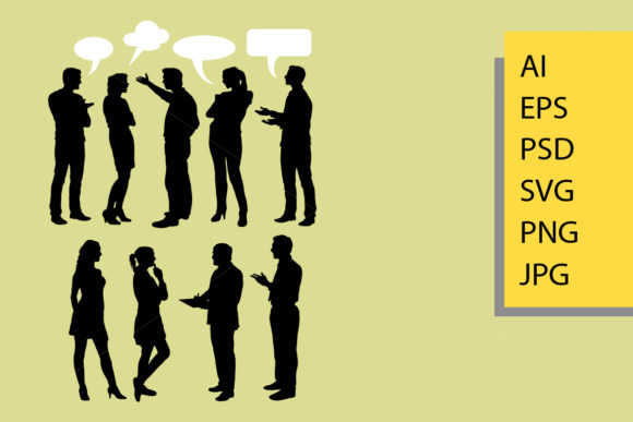 People Talking Silhouette Graphic Illustrations By Cove703
