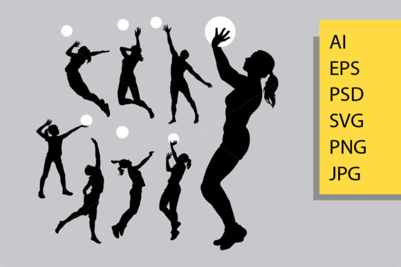 Volley Ball Sport Silhouette Graphic Illustrations By Cove703