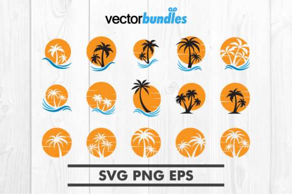 Download Free Palm Tree Sun Clip Art Svg Graphic By Vectorbundles Creative for Cricut Explore, Silhouette and other cutting machines.