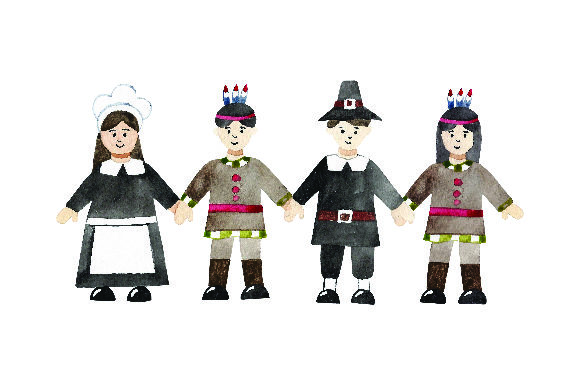 Pilgrims and Native Americans Holding Hands -watercolor Thanksgiving Craft Cut File By Creative Fabrica Crafts