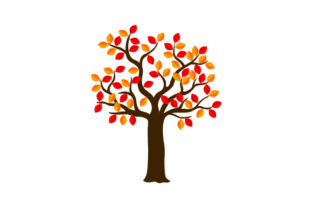 Tree with Orange & Red Leaves Craft Design By Creative Fabrica Crafts