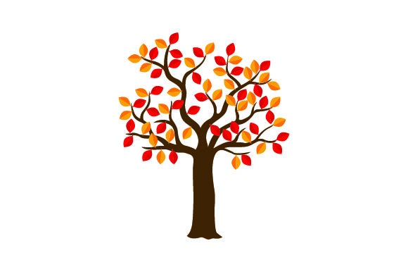 Tree With Orange Red Leaves Svg Cut File By Creative Fabrica