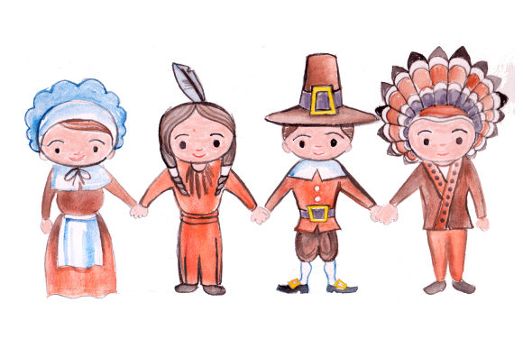 Pilgrims and Indians Holding Hands Thanksgiving Craft Cut File By Creative Fabrica Crafts