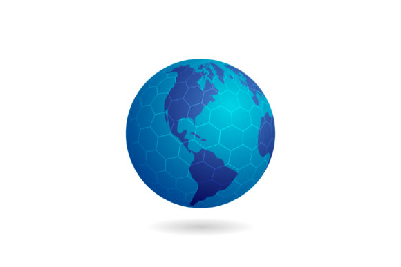 Print on Demand: Globe with a Hexagon Grid Graphic Graphic Templates By sabavector