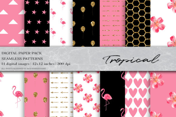Watercolor Tropical Flamingo Patterns Graphic Patterns By BonaDesigns