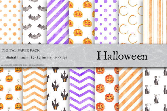Watercolor Halloween Digital Papers Graphic Patterns By BonaDesigns