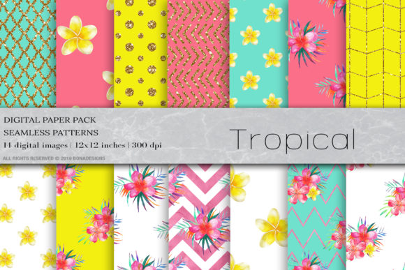 Watercolor Tropical Digital Papers Graphic Patterns By BonaDesigns