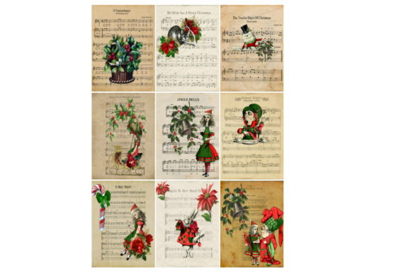 Print on Demand: Christmas Alice in Wonderland Tags Graphic Illustrations By Scrapbook Attic Studio