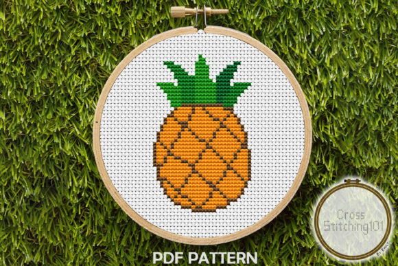 Download Free Pineapple Fruit Modern Cross Stitch Graphic By Crossstitching101 for Cricut Explore, Silhouette and other cutting machines.