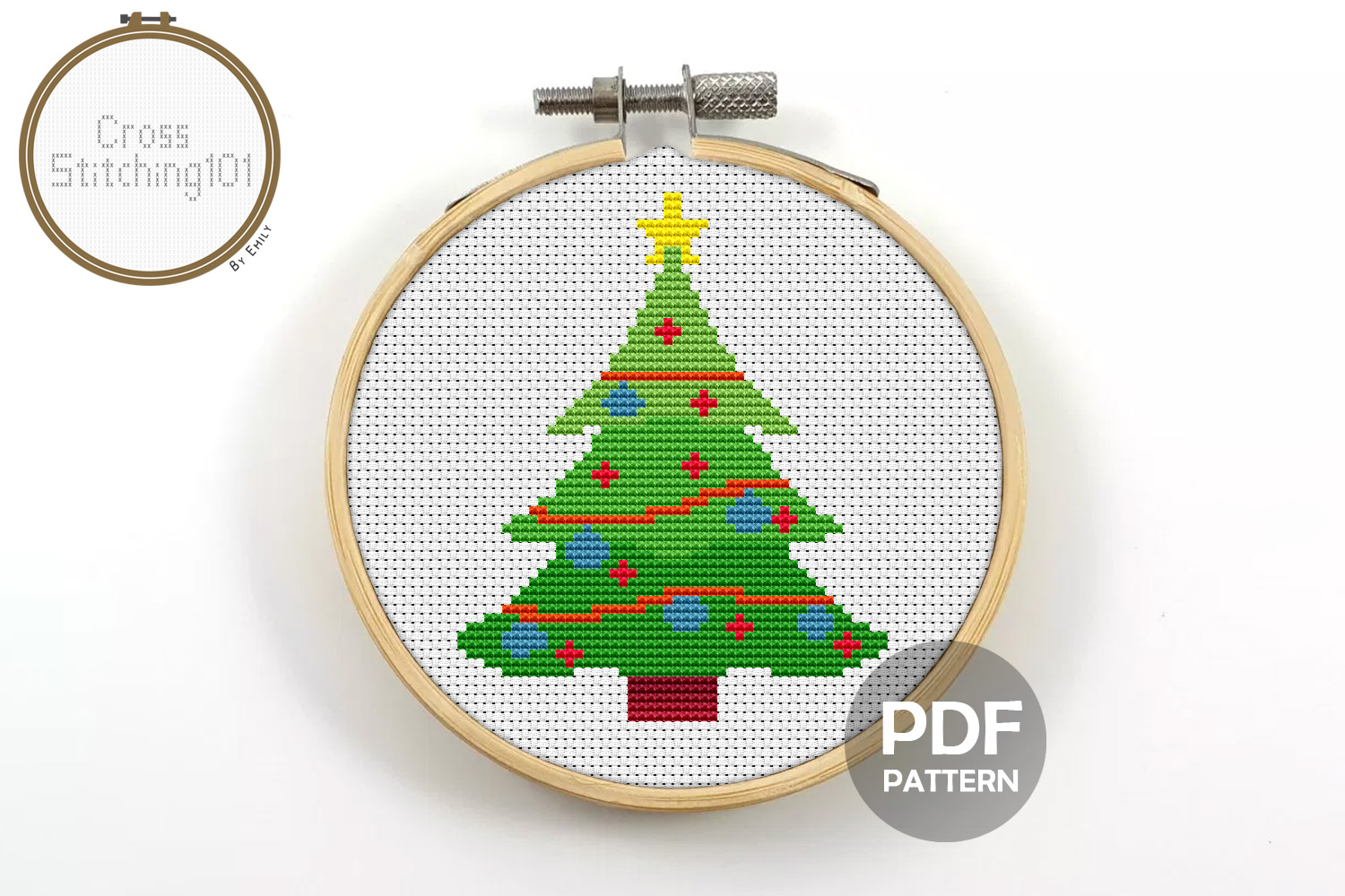 Download Free Christmas Tree Modern Cross Stitch Graphic By Crossstitching101 for Cricut Explore, Silhouette and other cutting machines.