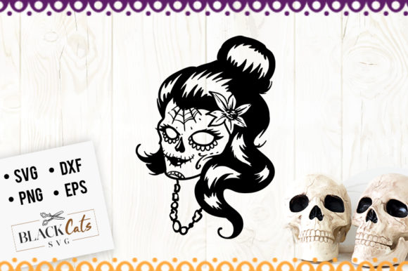 Download Free Day Of The Dead Queen Svg Graphic By Blackcatsmedia Creative for Cricut Explore, Silhouette and other cutting machines.