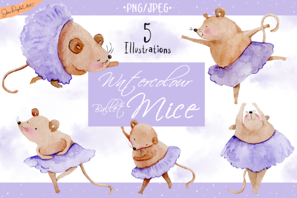 Watercolor Ballet Mice Graphic By Jen Digital Art