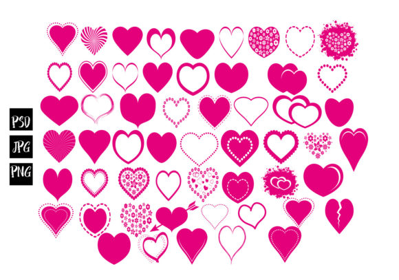 Print on Demand: 54 Hearts Collection Graphic Illustrations By capeairforce