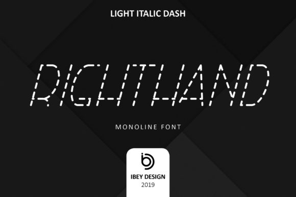 Print on Demand: Right Hand Light Italic Dash Display Font By ibeydesign