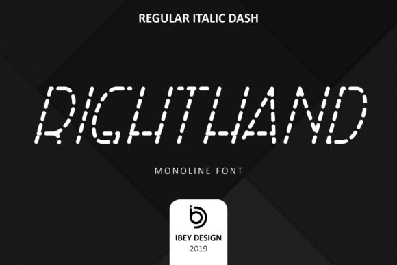 Print on Demand: Right Hand Italic Dash Display Font By ibeydesign