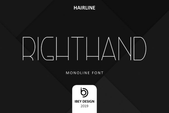 Print on Demand: Right Hand Hairline Display Schriftarten von ibeydesign