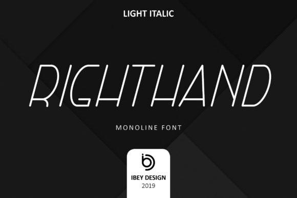 Print on Demand: Right Hand Light Italic Display Font By ibeydesign