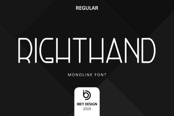 Print on Demand: Right Hand Display Font By ibeydesign