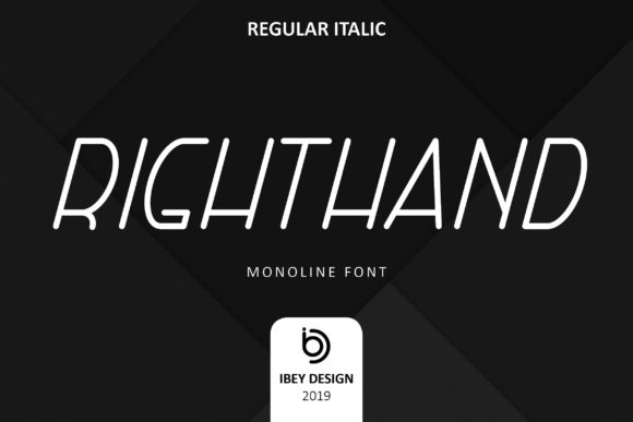 Print on Demand: Right Hand Italic Display Font By ibeydesign