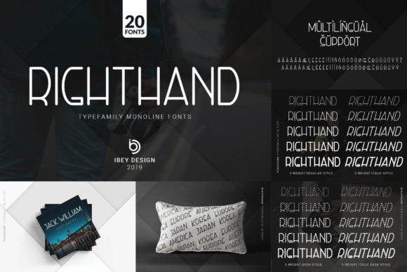 Print on Demand: Right Hand Italic Display Font By ibeydesign - Image 4