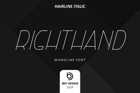 Print on Demand: Right Hand Hairline Italic Display Font By ibeydesign - Image 1
