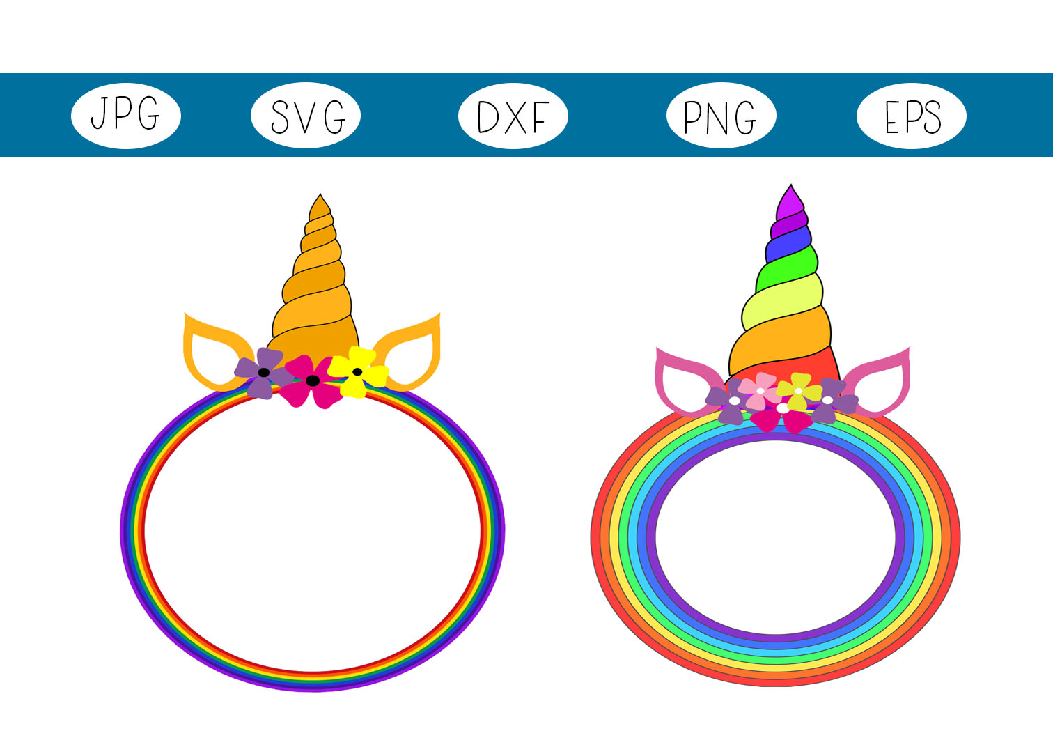 Download Free Unicorn Circle Frames Graphic By Capeairforce Creative Fabrica for Cricut Explore, Silhouette and other cutting machines.
