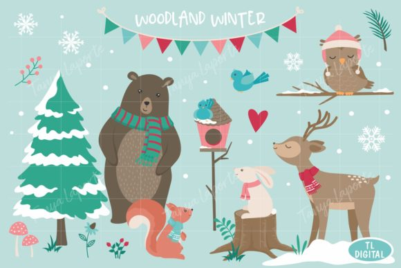 Woodland Winter Clipart -40 PNG Graphics Graphic Illustrations By TL Digital