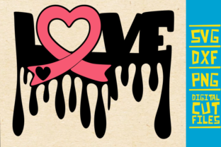 Download Free Love Breast Cancer Dripping Graphic By Svgyeahyouknowme for Cricut Explore, Silhouette and other cutting machines.