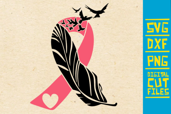 Download Free Feather Pink Ribbon Svg Breast Cancer Graphic By for Cricut Explore, Silhouette and other cutting machines.