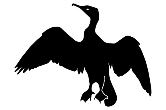 Download Free Cormorant Bird Silhouette Graphic By Idrawsilhouettes Creative for Cricut Explore, Silhouette and other cutting machines.
