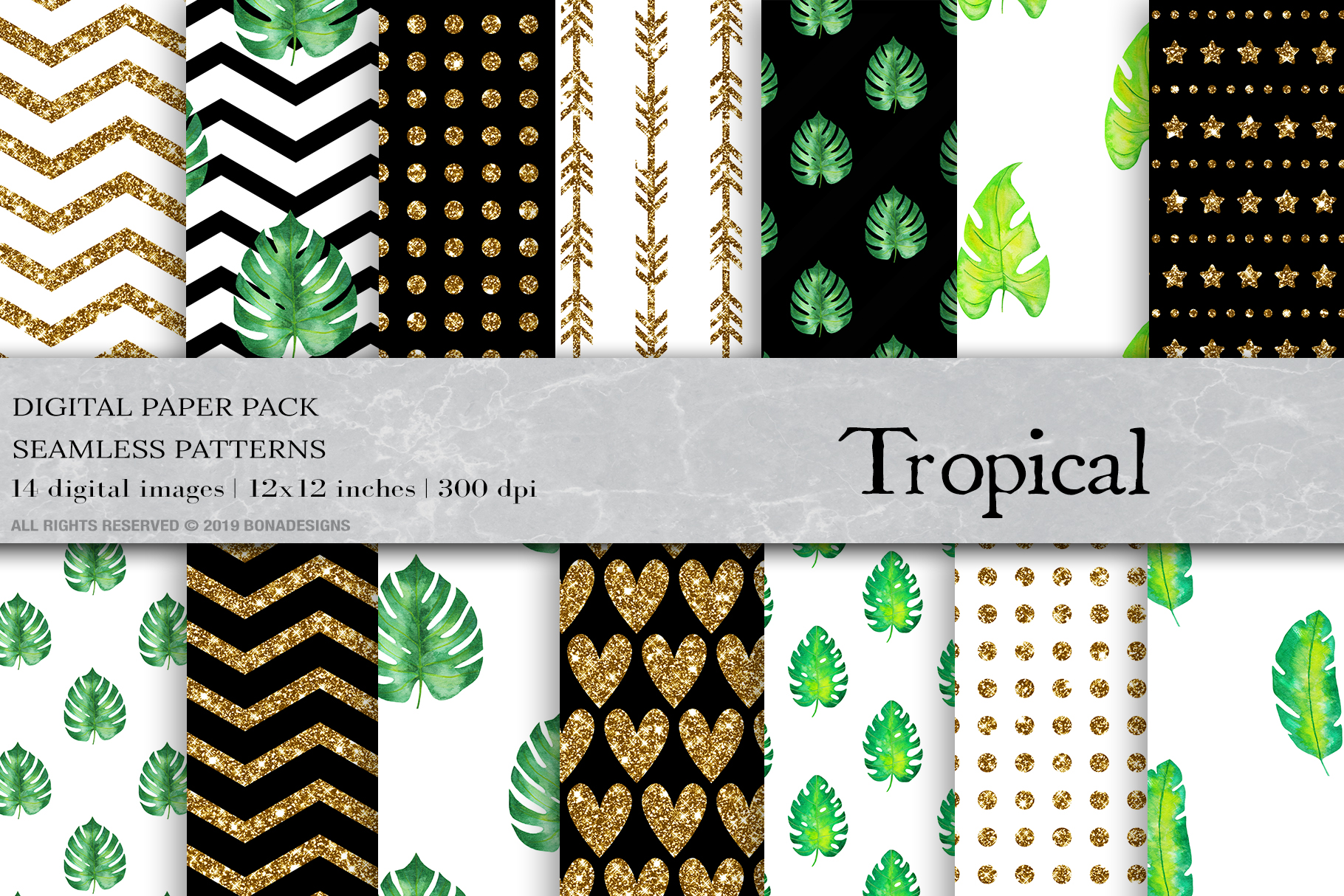 Download Free Watercolor Tropical Digital Papers Graphic By Bonadesigns for Cricut Explore, Silhouette and other cutting machines.