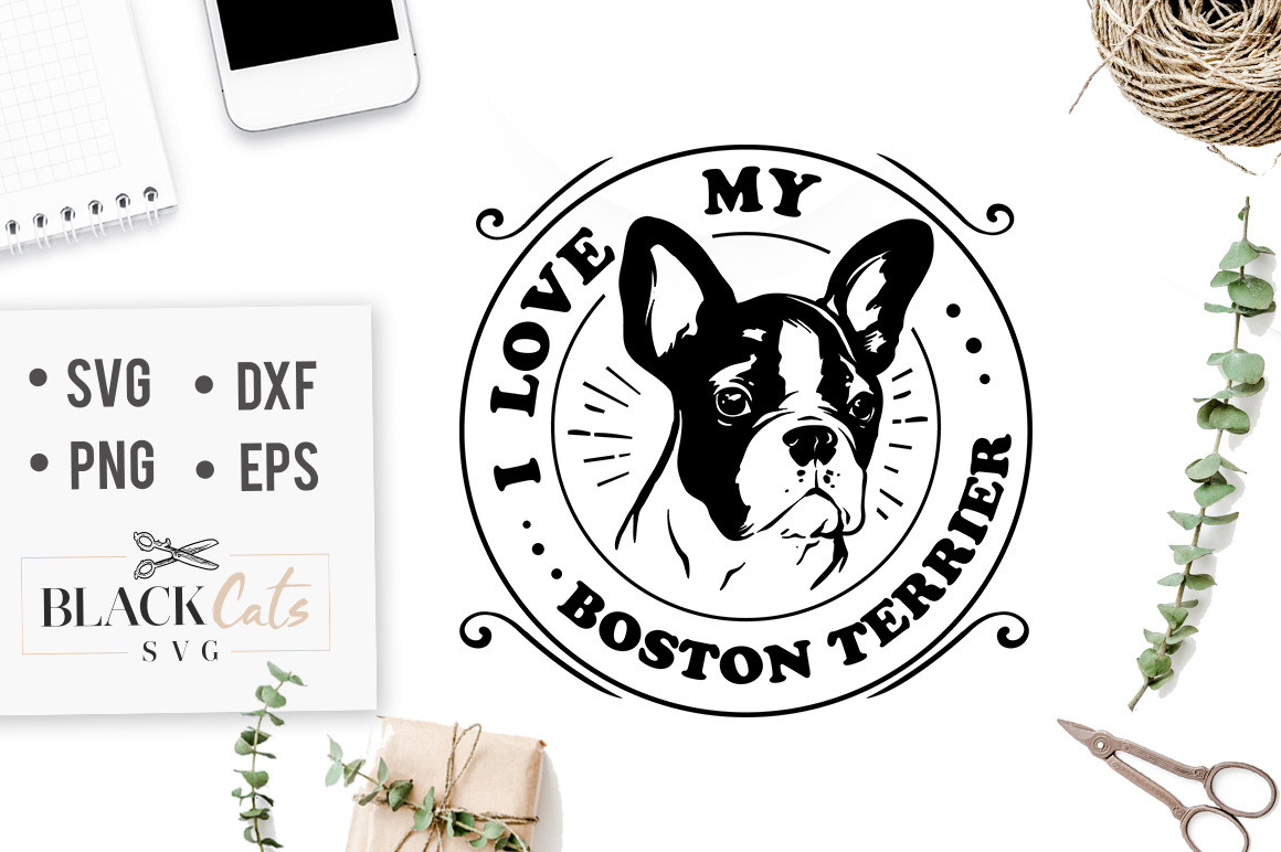 Download Free I Love My Boston Terrier Svg Grafik Von Blackcatsmedia SVG Cut Files