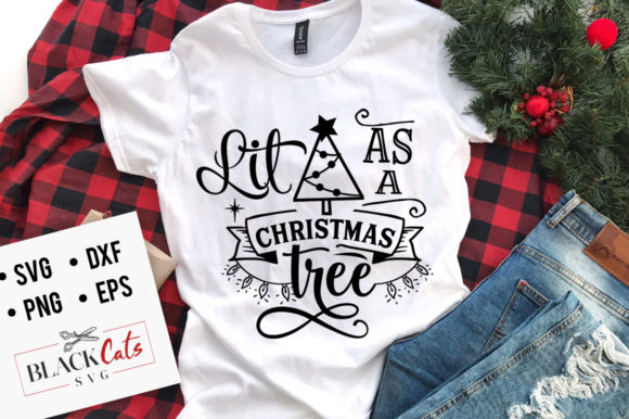 Download Free Lit As A Christmas Tree Svg Graphic By Blackcatsmedia Creative for Cricut Explore, Silhouette and other cutting machines.