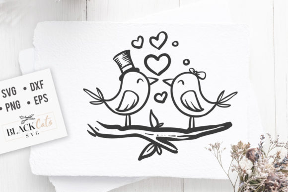 Love Birds SVG Graphic Crafts By BlackCatsMedia - Image 1