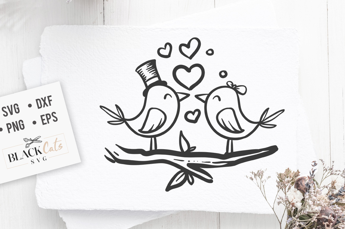 Download Free Love Birds Graphic By Blackcatsmedia Creative Fabrica for Cricut Explore, Silhouette and other cutting machines.