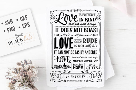 Download Free Love Is Patient Love Is Kind Svg Graphic By Blackcatsmedia for Cricut Explore, Silhouette and other cutting machines.