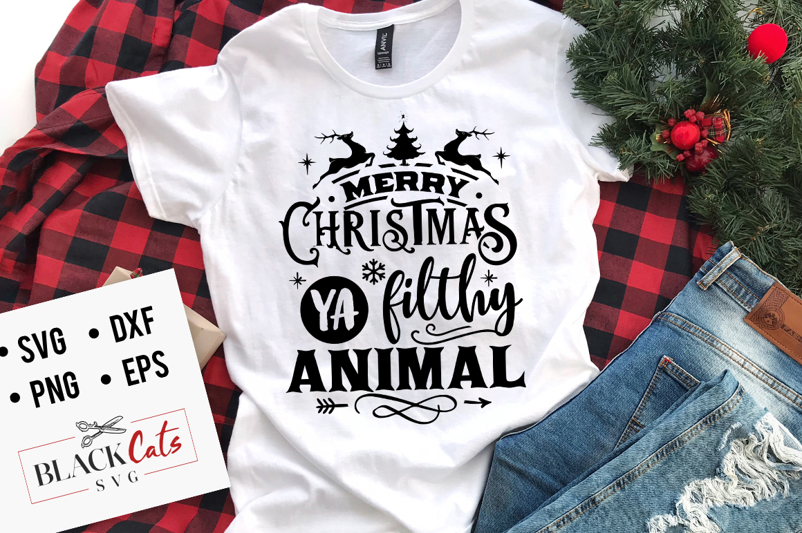 Download Free Merry Christmas Ya Filthy Animal Svg Graphic By Blackcatsmedia for Cricut Explore, Silhouette and other cutting machines.