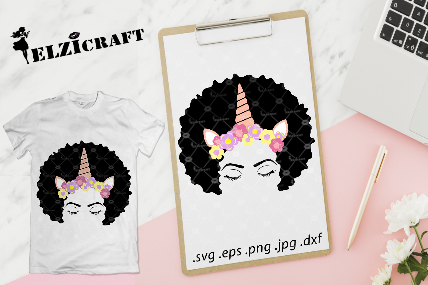 Download Free Afro Woman Face Flower Headband Unicorn Graphic By Elzicraft for Cricut Explore, Silhouette and other cutting machines.