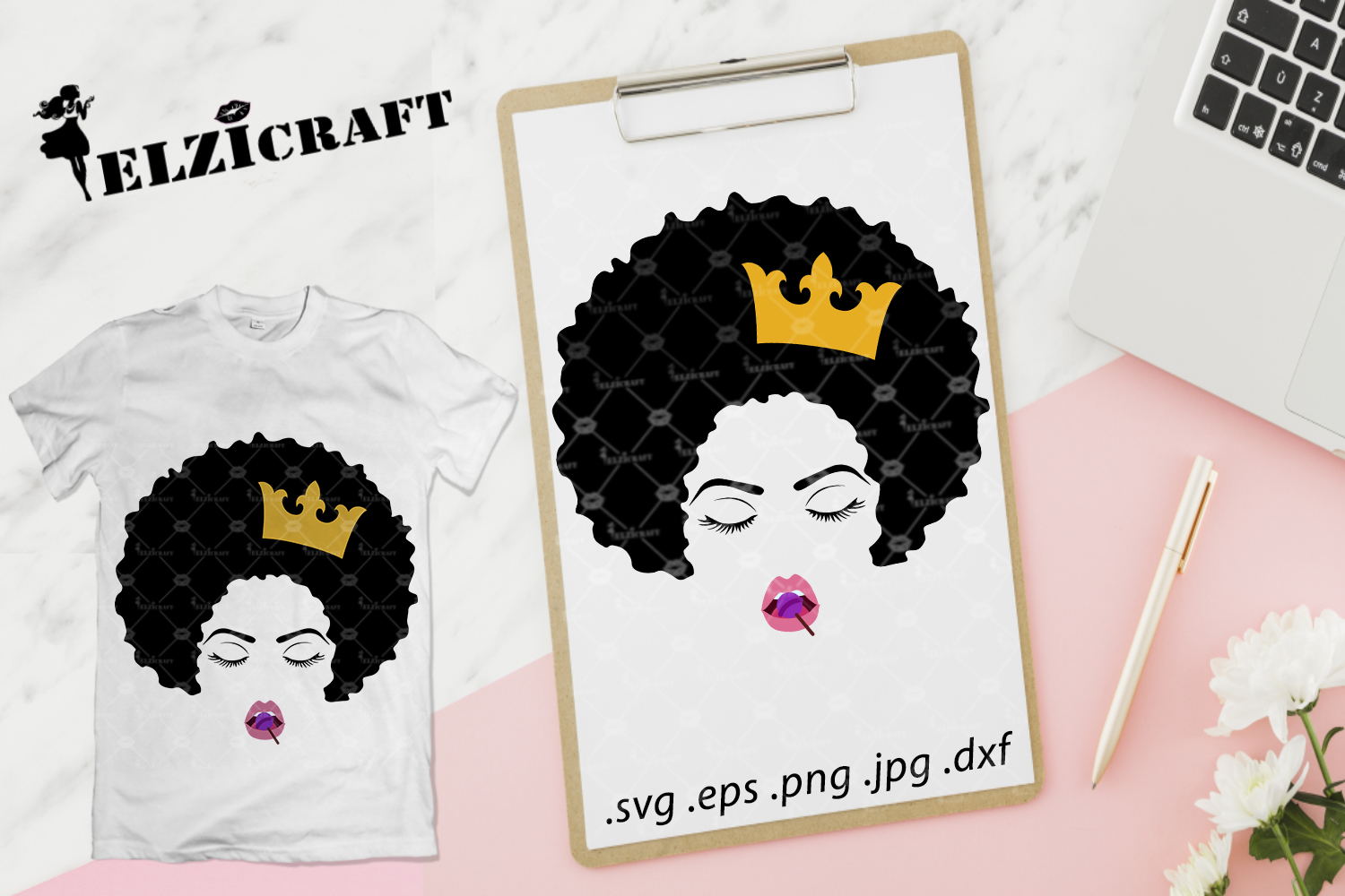 Download Free Afro Woman Face Crown Lollipop Lips Graphic By Elzicraft for Cricut Explore, Silhouette and other cutting machines.