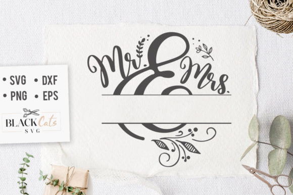 Mr and Mrs with Space for Name SVG Graphic Crafts By BlackCatsMedia - Image 1