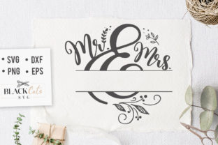 Print on Demand: Mr and Mrs with Space for Name SVG Graphic Crafts By BlackCatsMedia