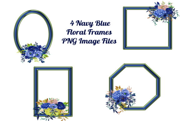 Print on Demand: 4 Navy Floral Frames Graphic Graphic Templates By Scrapbook Attic Studio