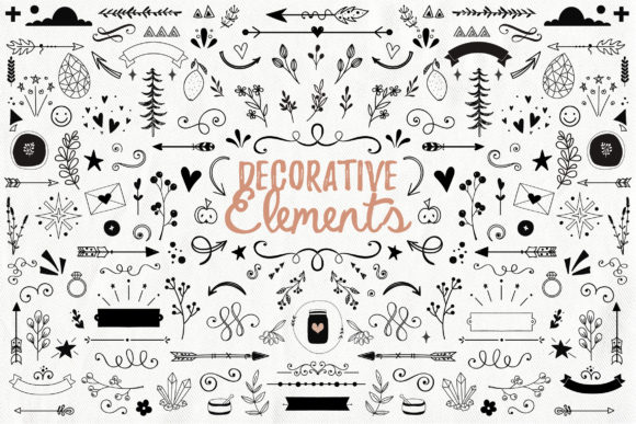 Handdrawn Decorative Elements Graphic By switzershop Image 1