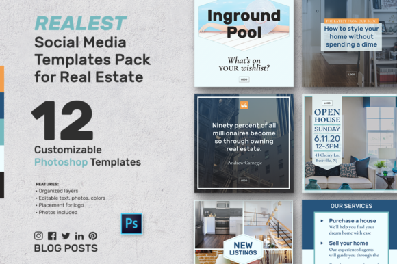 Download Free Social Media Banners For Real Estate Graphic By Aviva Creative Fabrica for Cricut Explore, Silhouette and other cutting machines.